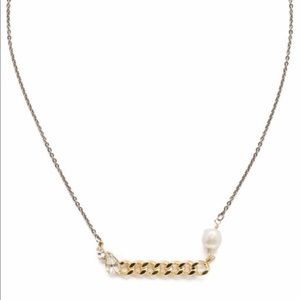 Sorrelli Sela Modern Pearl Mixed Metal Necklace